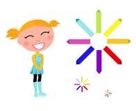 School girl with rainbow pastel pencils. Stock Image