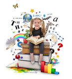 School Girl Reading Book on White. A young girl with glasses is reading a book with school icons such as math formulas, animals and nature objects around her for Royalty Free Stock Photography