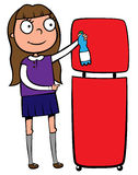 School girl recycling a plastic bottle. Illustration of a school girl throwing out a plastic bottle into a recycling wastebasket Stock Photography
