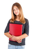 School girl with red folder Royalty Free Stock Image