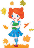 School girl red hair illustration Stock Photos