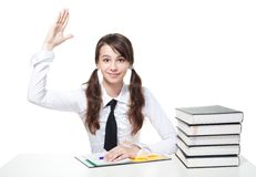 School girl rise a hand Royalty Free Stock Photos