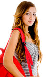 School girl with school bookbag. School girl with red bag on an isolated white background Stock Photos