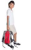 School Girl In School Uniform And Backpack II Stock Image