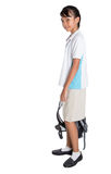 School Girl In School Uniform And Backpack IV Stock Images