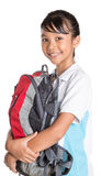 School Girl In School Uniform And Backpack IX Stock Image