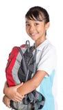 School Girl In School Uniform And Backpack IX Stock Image