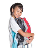 School Girl In School Uniform And Backpack VI Royalty Free Stock Photos