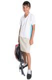 School Girl In School Uniform And Backpack VII Stock Photos