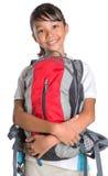 School Girl In School Uniform And Backpack VIII Royalty Free Stock Photos