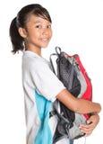 School Girl In School Uniform And Backpack XI Stock Photo
