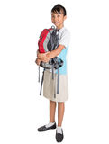 School Girl In School Uniform And Backpack X Royalty Free Stock Photo