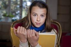School girl in school uniform stock image