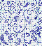 School girl seamless texture. Seamless pattern of fashion and beauty girl accessories on notebook paper Stock Images