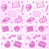 School Girl Seamless Tiles. Four abstract seamless tiles with school supplies. Useful also for scrapbook or patterns. Eps file available Stock Images
