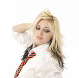 School girl or secretary on white Royalty Free Stock Photos