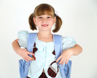 School girl smile. Cute school girl with backpack smiling Stock Photo