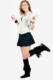 School girl standing in one leg Stock Photography