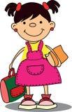 School Girl Student Bag Books Stock Photography