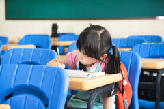 School girl study alone Stock Image