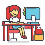 School girl, study workplace, table with computer, book and backpack concept. Royalty Free Stock Images