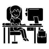 School girl on the table with computer, book and backpack  icon, vector illustration, sign on isolated background. School girl on the table with computer, book Stock Photos