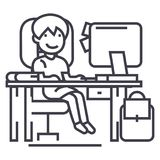 School girl on the table with computer, book and backpack vector line icon, sign, illustration on background, editable. School girl on the table with computer Royalty Free Stock Photography