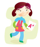 School Girl with test result Stock Photography