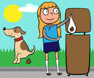 School girl throwing out dog's poo Royalty Free Stock Photo