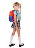 School girl in uniform with backpack. Royalty Free Stock Photos