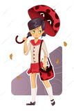 School girl in uniform. With ladybug umbrella and bag Royalty Free Stock Photos