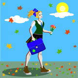 School girl in uniform with ponytails going to school along the road with marple leaves. Vector illustration Stock Photo