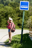 School girl ,waiting bus Royalty Free Stock Image