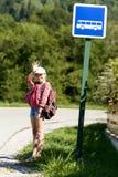 School girl ,waiting bus Royalty Free Stock Image