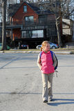 School girl walk stock photo