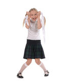 School girl on white background Royalty Free Stock Photos