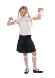 School girl on white background Royalty Free Stock Images