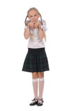 School girl on white background Stock Photography