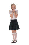 School girl on white background Royalty Free Stock Photography