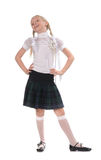 School girl on white background Stock Photos