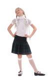 School girl on white background Stock Photos