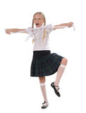 School girl on white background Royalty Free Stock Photo