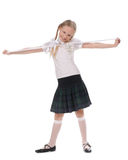 School girl on white background Royalty Free Stock Image