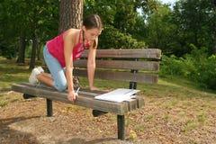 School Girl Working on Difficult Homework Stock Photos