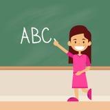 School Girl Write On Green Board Letters Alphabet. Flat Vector Illustration Royalty Free Stock Photos
