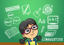 School girl write linguistics sign object in school blackboard Stock Image