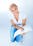 School girl write test Royalty Free Stock Photos