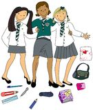 School Girls. Three Girls Ready to go Back to School Royalty Free Stock Photography