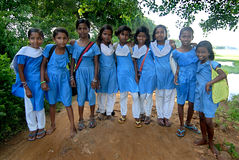 School Girls. 22 August 2012,Chilika,Orissa,India,Asia-A group of school girl are posing near the road of Chilika Royalty Free Stock Image