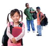 School Girls. Three young kids ready for school. Diversity Stock Images